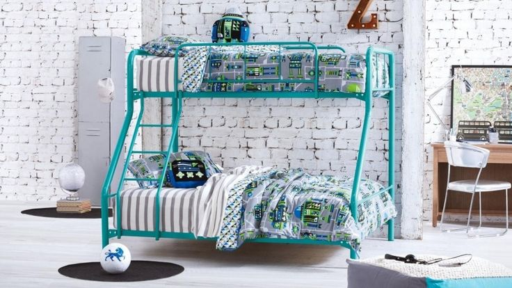 Trio Safety Bunk Bed - Teal - Bedroom - Beds & Manchester   Harvey Norman Australia