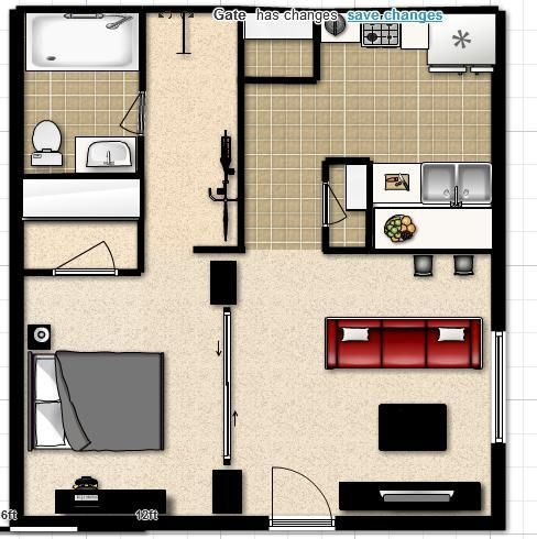 Studio apartment layout layouts pinterest apartment for Apartment design layout