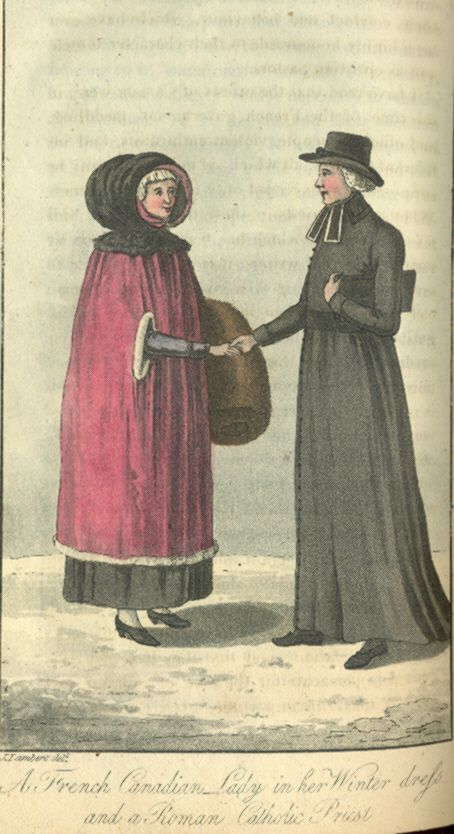 """A French Canadian lady in her winter dress, and a Roman Catholic priest,"" from John Lambert's Travels Through Canada and the United States of North America in the Years 1806, 1807 & 1808"