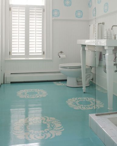 Instead of tile or linoleum, paint floors with a high gloss. | 27 Clever And Unconventional Bathroom Decorating Ideas