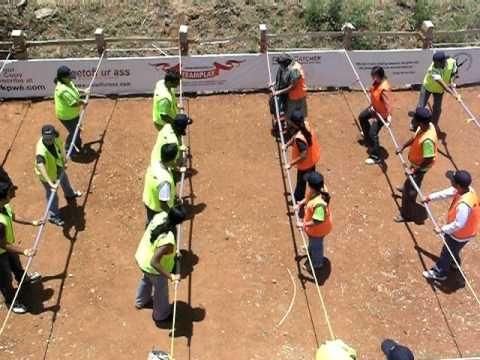 Human Foosball as a team builder.  Easy to build and lots of people can watch.
