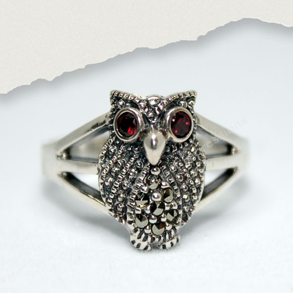 Marcasite Owl CZ Sterling Silver Ring