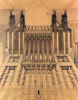 Città Nuova (Ciudad Nueva), el gran proyecto de Antonio Sant'Elia. Con él pretendía crear una ciudad que asumiera las nuevas tipologías de la construcción.