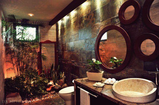 15 Entspannende Tropische Badezimmerentwurfe Fur Den Sommer Boho Badezimmer Tropisch Tropisches Badezimmer