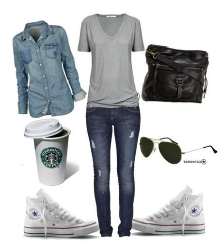 denim, chucks and hot choco from starbucks.Totally my style #style #fashion #denim