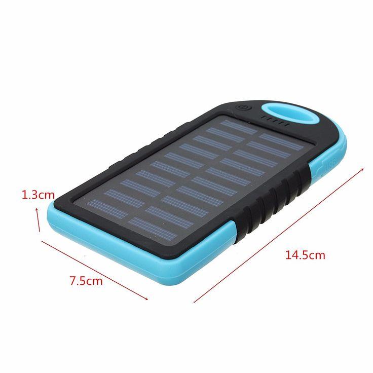 5000mAh cargador de batería del banco de la energía solar externa dual USB con cable de carga para el teléfono móvil