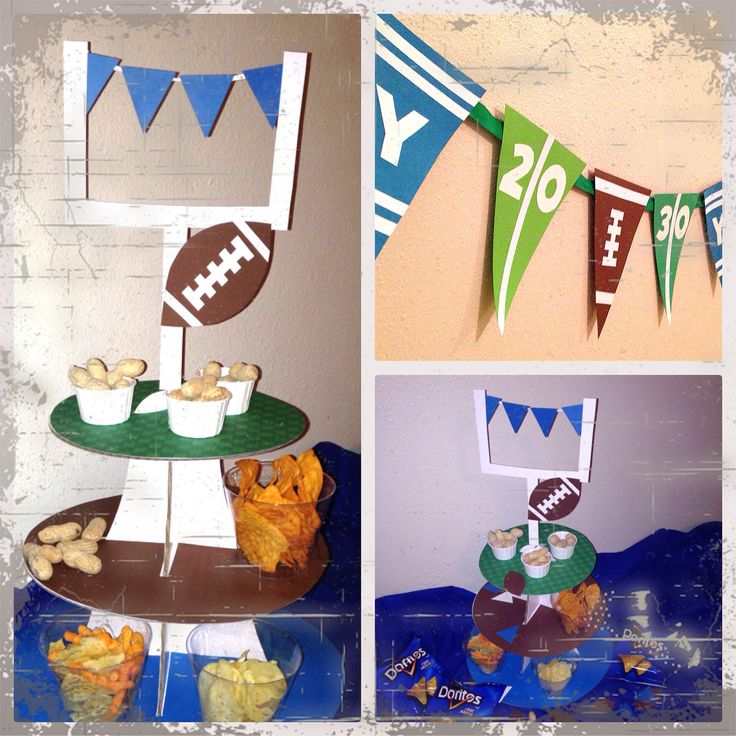 Football themed party decorations by Heidi Prigmore. Hdoodlesparties.blogspot.com