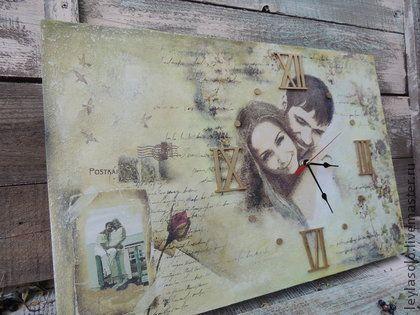 Часы для дома ручной работы. Ярмарка Мастеров - ручная работа Часы фреска Старые письма о любви. Handmade.