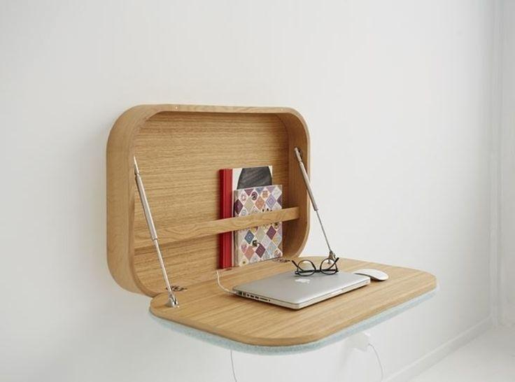 Una simpatica scrivania a scomparsa da appendere al muro come un armadietto
