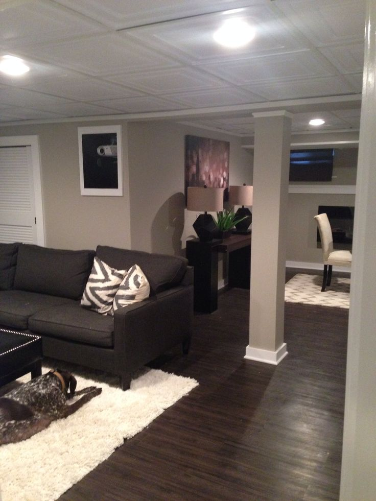 Basement Remodel   Love The Dark Floors Different Ceiling Tiles Are Nice.  And The Framed Part 42