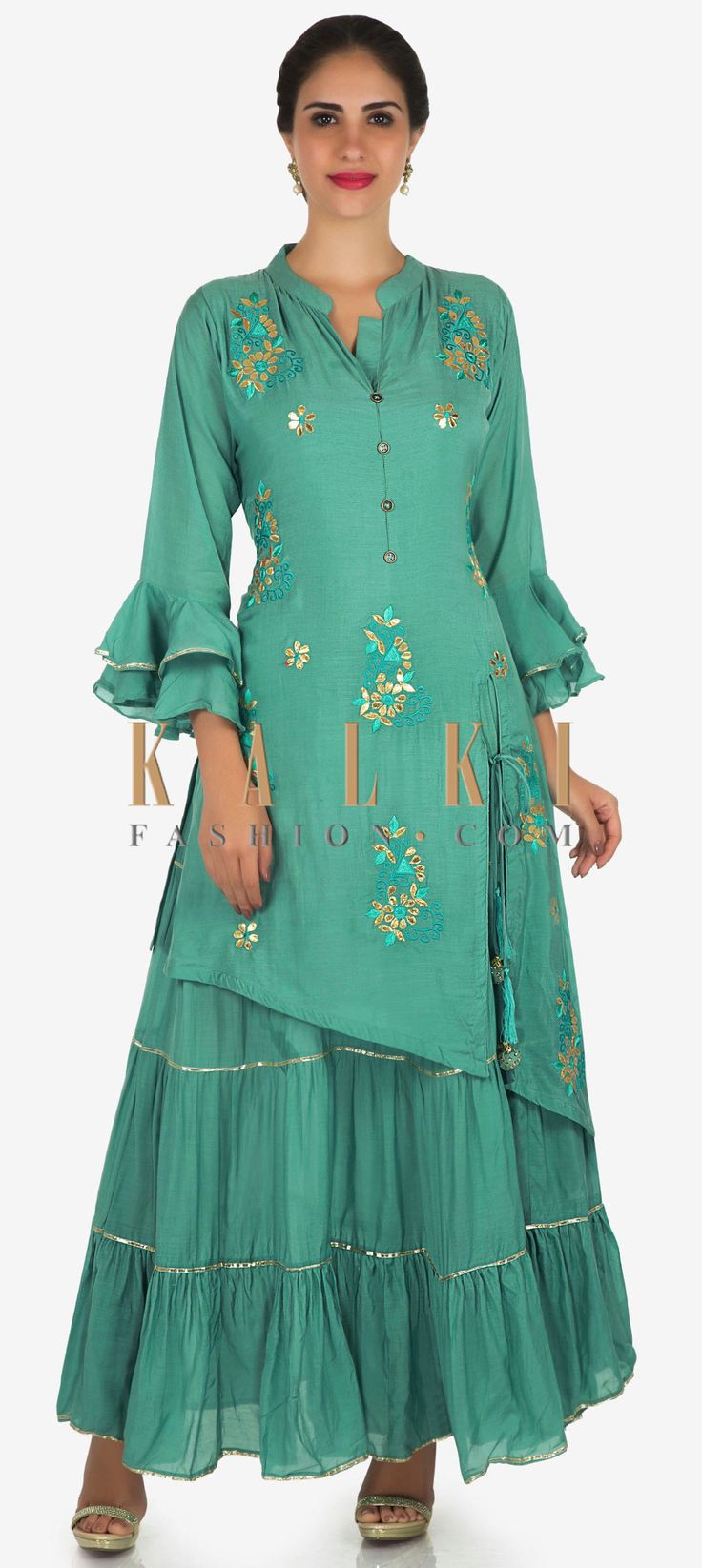 Buy Online from the link below. We ship worldwide Click Anywhere to Tag Mud green palazzo suit in cotton featured in gota patti and resham embroidery work only on Kalki