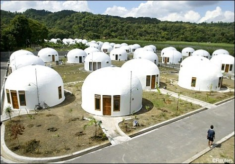 70 domes houses, which were built by U.S. based Domes for the World, for villagers who lost their houses to an earthquake in Sumberharjo village, near Indonesia's ancient city of Yogyakarta.