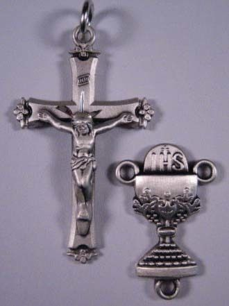 No. S311 Crucifix & Center Set - Sterling Silver Crucifix 7745, Center 865. First Communion Set. | Rosary Parts | Rosary Crucifix | Rosary Beads