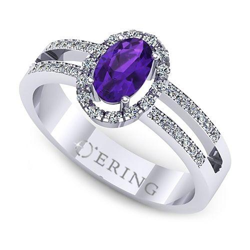 Inel logodna L117AAM inel cu ametist si diamante
