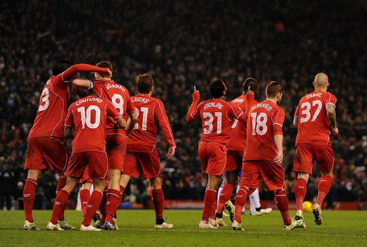 Liverpool celebrate after Raheem Sterling equalises against Chavski in the 1st leg of the League Cup Semi-Final at Anfield. #LFC