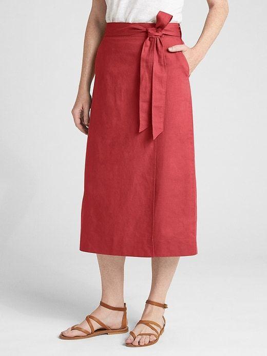 061c85f4d4 Wrap Midi Skirt in Linen-Cotton   Products   Midi skirt, Skirts ...