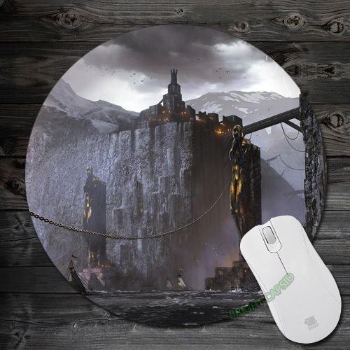 Anti-slip Mouse pads Dragon Age 2 Harbor artwork chains docks Round Soft for Computer Speed Me pad Mat large gamer Mousepad