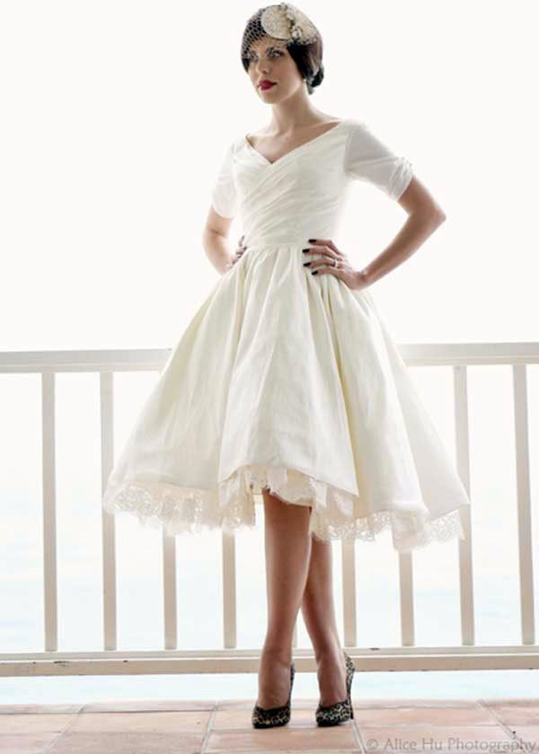 Short and simple couture wedding dress