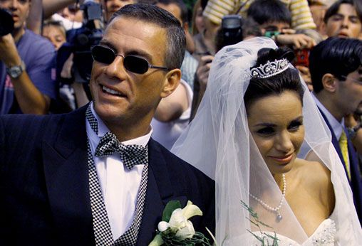 Actor jean claude van damme wife gladys portugues after their wedding