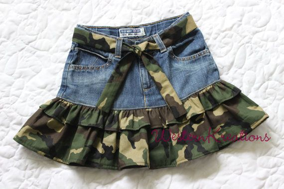 Upcycled Denim Skirt with Camouflage Ruffle by WesternKreations, $20.00 www.etsy.com/shop/WesternKreations