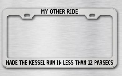 This custom license plate frame is on the top of my X-mas list ...