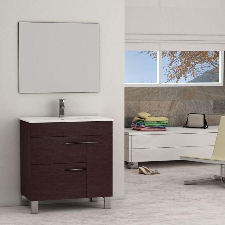 Eviva Cup® 31.5″ Wenge (Dark Brown) Modern Bathroom Vanity with White Integrated Porcelain Sink