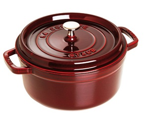 Grenadine La Cocotte Round by Staub is great for stews, roasts, soups and casseroles.