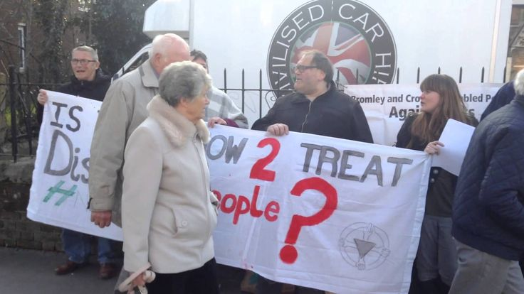 Protest against Zac Goldsmith for supporting cuts to disability payments