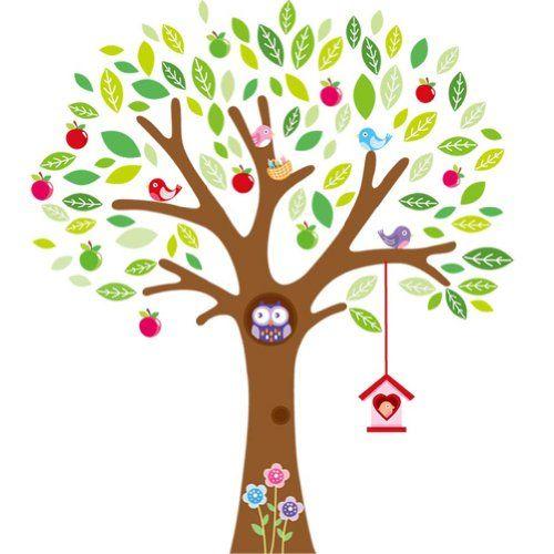 Songmics Autocollant/sticker mural arbre pour chambre d'enfant 140*160cm Multicolore FWT23C