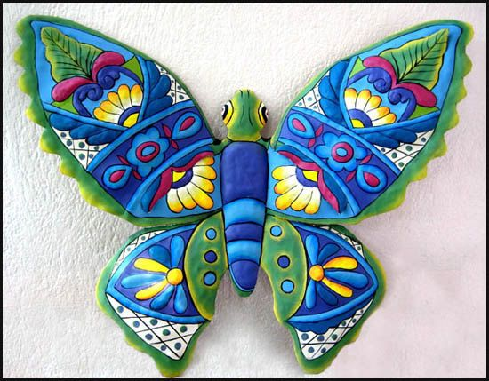 """Decorative Butterfly Wall Decor- Large 34"""" Painted Metal Outdoor Garden Art - Tropical Design Metal Wall Decor - by TropicAccents"""