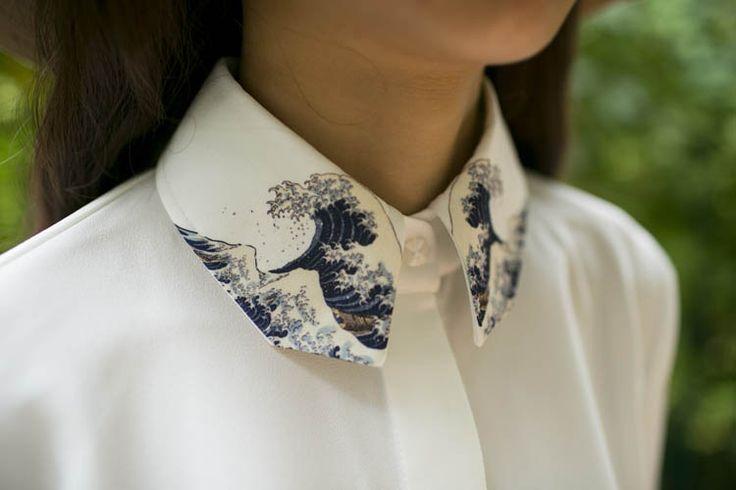 The Great Wave Off Kanagawa by Katsushika Hokusai printed on white shirtby PurpleFishBowl