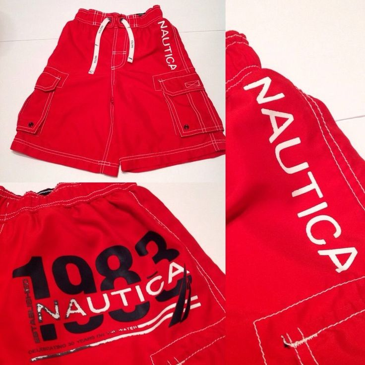 Nautica Boys Swim Trunks Youth Small 8 Red Cargo Summer Sailing 1983 Shorts #Nautica #SwimShorts