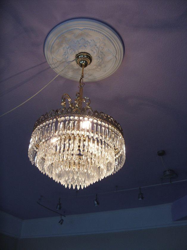 50er Jahre Chromlampe Mit 3 Opalglaskrpern Vintage Kronleuchter