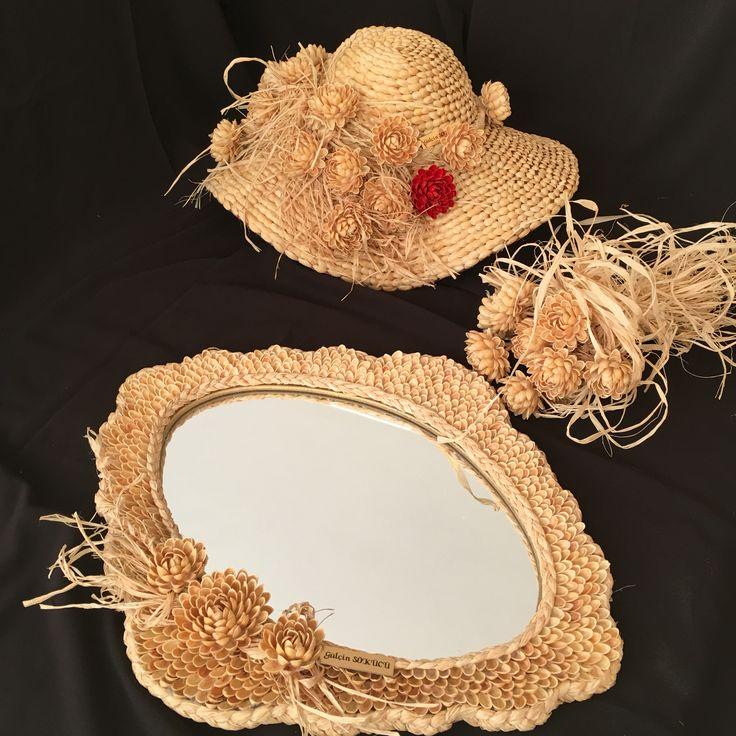 Fıstık kabukları geri dönüşüm ayna ,şapka ,çiçek buketi