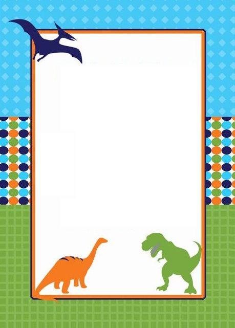 convite colorido dinossauros
