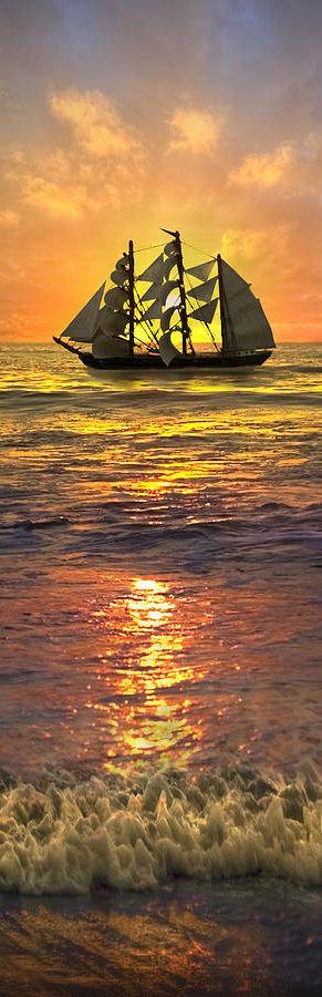 ♥ Sun set with beautiful ship