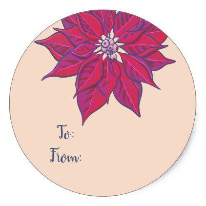 Merry and Bright Poinsettia Gift Label Stickers - christmas stickers xmas eve custom holiday merry christmas