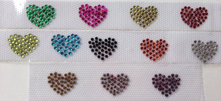 Applicazione/toppa strass hotfix termoadesivi 3 cuoricini, by Le mani di Ema, 2,40 € su misshobby.com