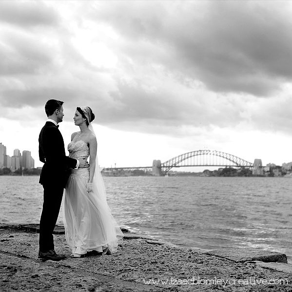 black and white wedding photo taken at bradleys head on sydney harbour