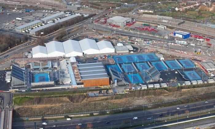 Eton Manor  20 Dec 2011  Aerial view of tennis courts at Eton Manor