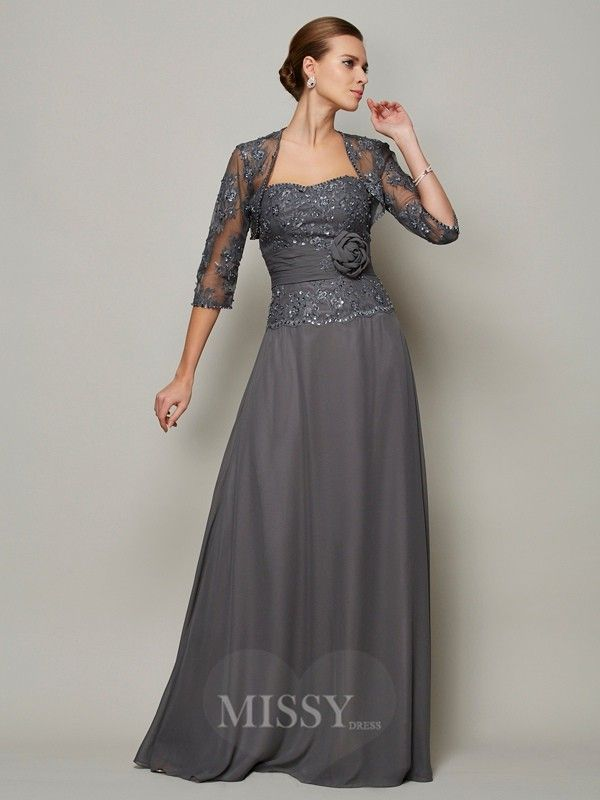 A-Line Chiffon Sweetheart Floor-Length Mother Of The Bride Dress With Beading