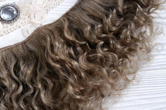mohair weft curly dark and light ash, doll hair, dolls hair, goat hair, waldorf doll hair, Blythe do