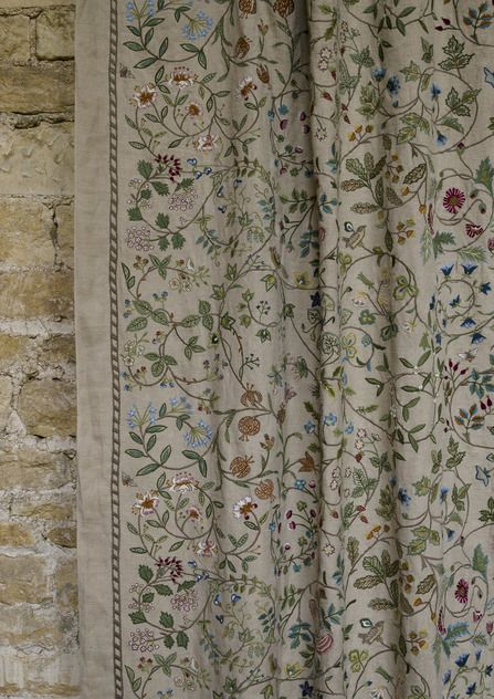 Windrush is our first embroidery – inspired by the work of William Morris' daughter and the Arts & Crafts movement and named after the river which runs through the Cotswolds, near the home of Lewis & Wood.  The design was developed in the studio and then produced with extraordinary craftsmanship in India.  The result is beautiful and reassuringly expensive! | Lewis + Wood UK