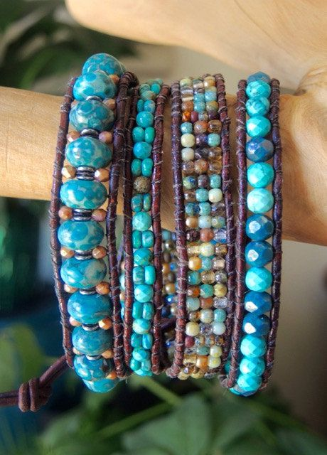 ARROWHEAD Turquoise Beaded 4 Wrap Leather by BraceletsofBlueRidge