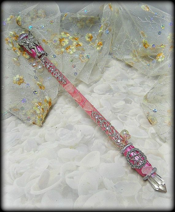 Fairy Pentacle Magic Wand with Rose Quartz ,wiccan altar tools Crones Magical Crafts