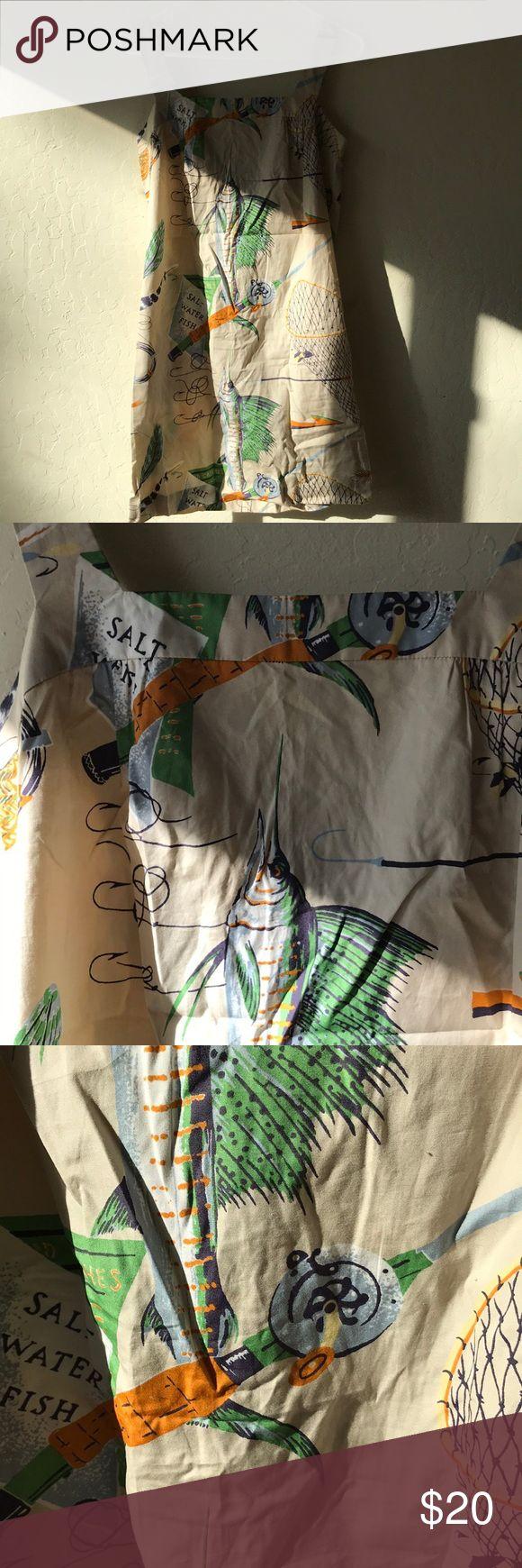 "NWOT J.crew salt water fish print cotton dress Brand new bust 33""length 34"" J. Crew Dresses Midi"