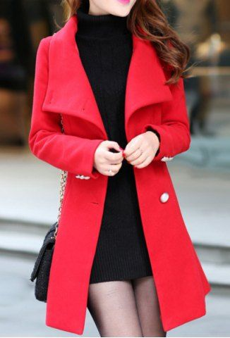 Stylish Stand Collar Long Sleeve Solid Color Coat For Women