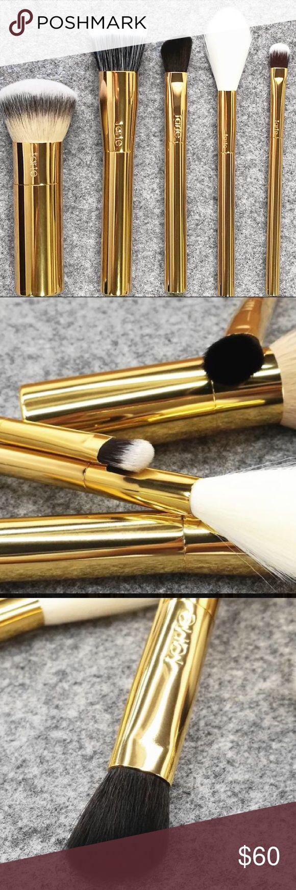 5pc Tarte Gold Handle Brush set 5pc Tarte Brush Set! Tarte Foundation Brush, Highlight Brush, Concealer brush, Blush Brush, Eyeshadow Brush! tarte Makeup Brushes & Tools