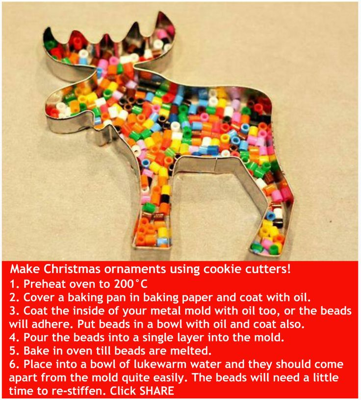 PERLER BEADS cookie cutter ornament - great idea to use up peRLer beads and make a colorful ornament
