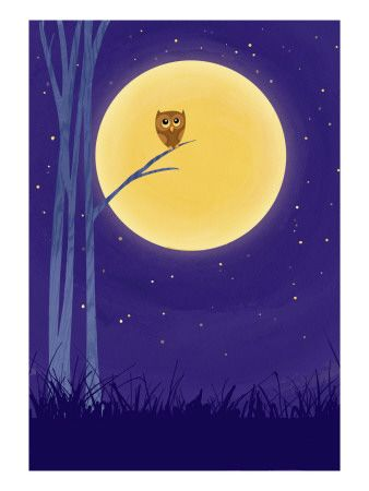Owl on Branch with Full Moon Kunsttrykk